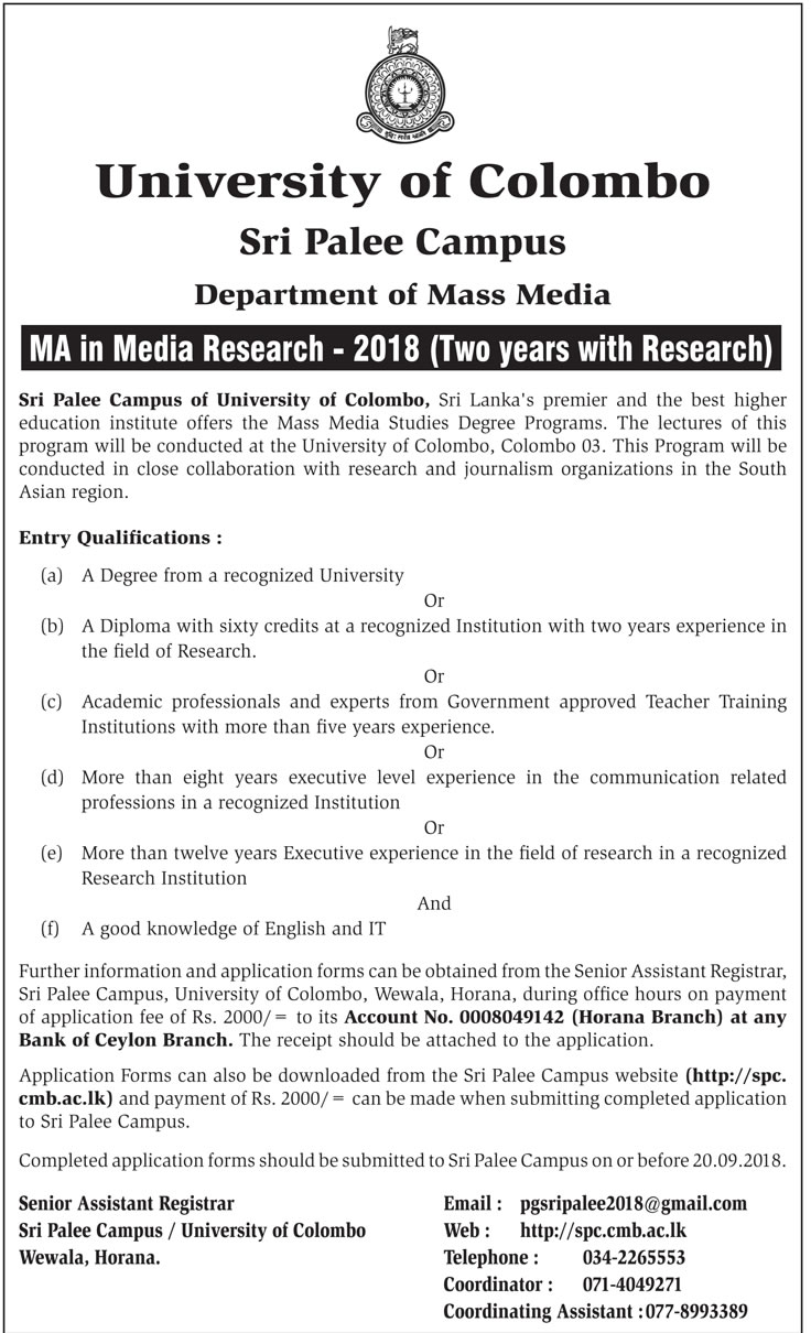 MA in Media Research - Department of Mass Media - Sri Palee Campus